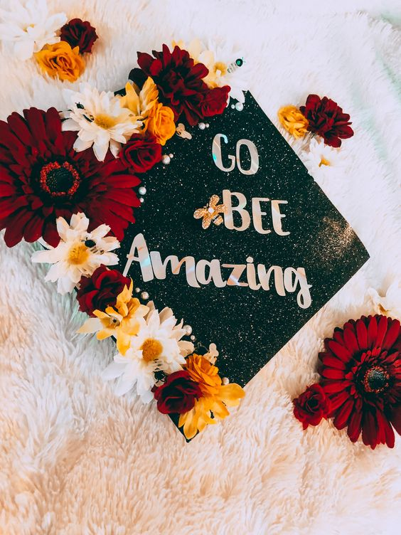 flowers graduation cap ideas